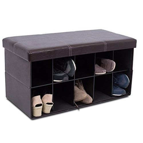 Large Brown Leather Storage Ottoman Bench Shoe Rack Foot Stool Upholstered  Poufs #LargeBrownLeatherStorageOttoman #FootStool
