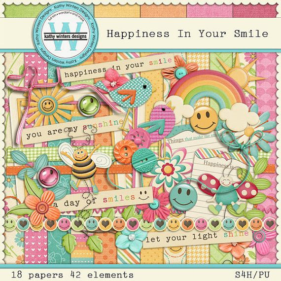 Happiness In Your Smile Digital Scrapbooking by KWintersDesigns