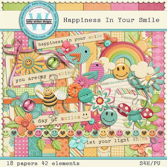 Happiness In Your Smile Digital Scrapbooking by KWintersDesigns