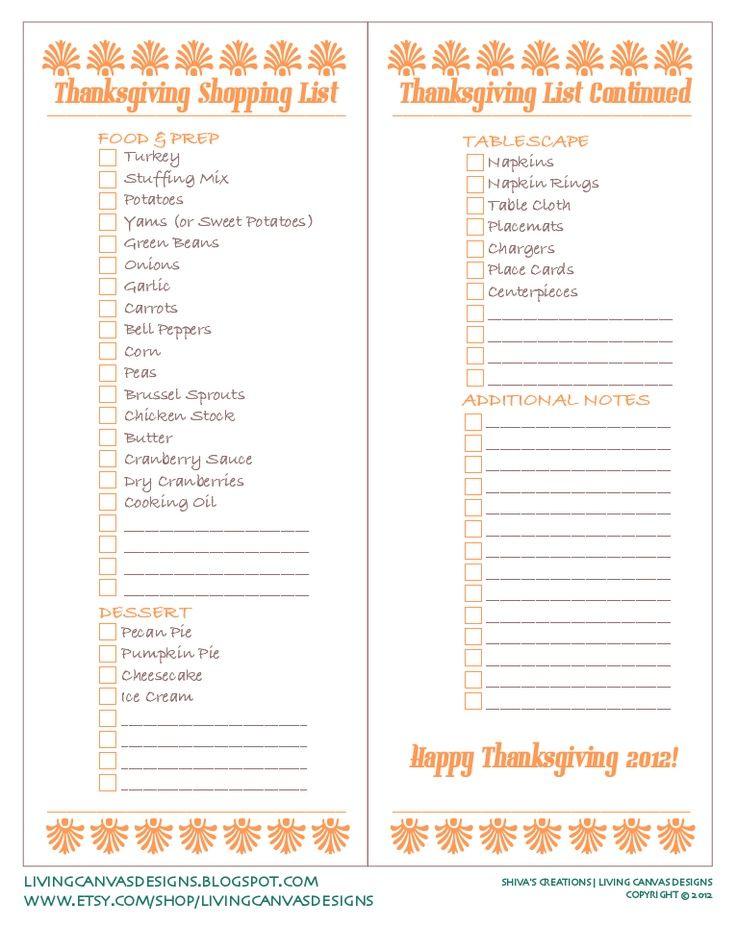 thanksgiving shopping list | Thanksgiving Shopping List Freebie Printable... | Tips & Tricks