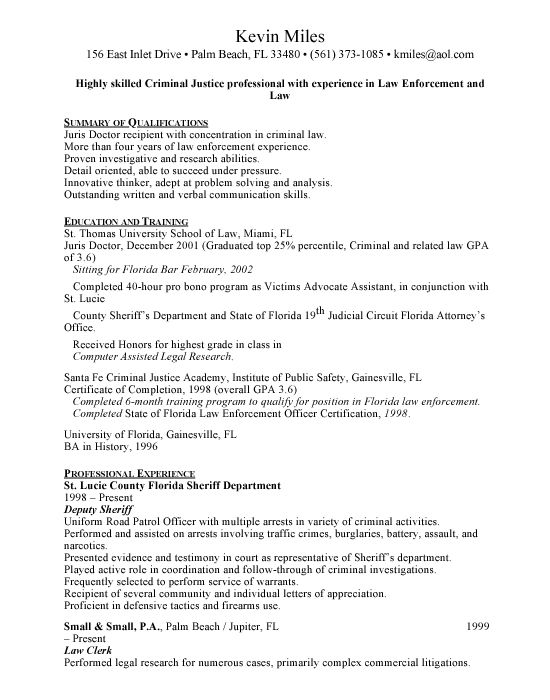 Resume For Sheriff Deputy - The best estimate professional