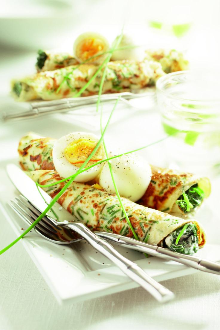 Bieslookflensjes met spinazie en ei
