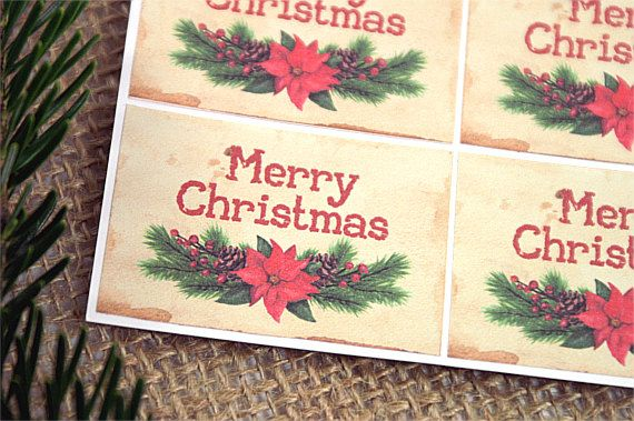 Christmas Stickers - Merry Christmas Labels - Christmas Gift Stickers - Gift Stickers - Kraft Labels - Merry Christmas Stickers by TrocaderoKraft on Etsy
