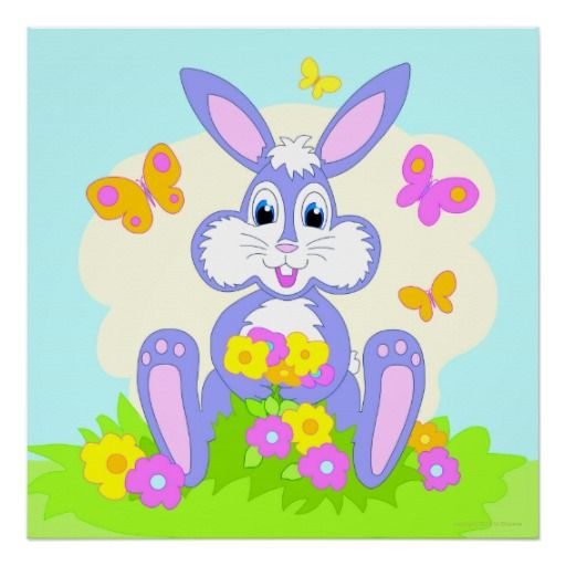 Happy Bunny poster, colorful cartoon art for kids' rooms, daycare, classroom, pediatrician's office, grandma's place, baby's nursery and more. Original artwork M Chaume. Have a happy day!