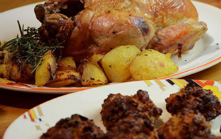 Pollo ripieno: stuffed roast chicken