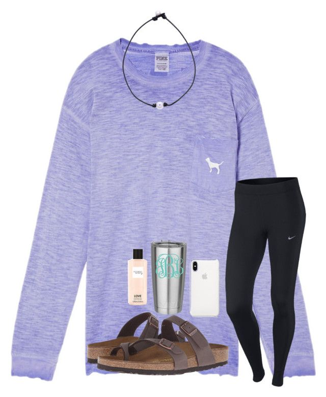 """""""i'm ready to go to the beach """" by samanthars ❤ liked on Polyvore featuring Victoria's Secret, Birkenstock and NIKE"""