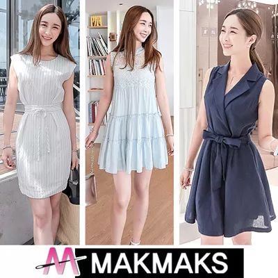 [$25.99](▼71%)[MakMaks]♣ Women Fashion Korea Sleeveless Dress ♣ Long/Short/Flower/Check/Printed