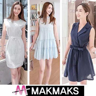 [$25.99](▼71%)[MakMaks]♣ Women Fashion Korea Sleeveless Dress ♣ Long/Short/Flower/Check/Printed