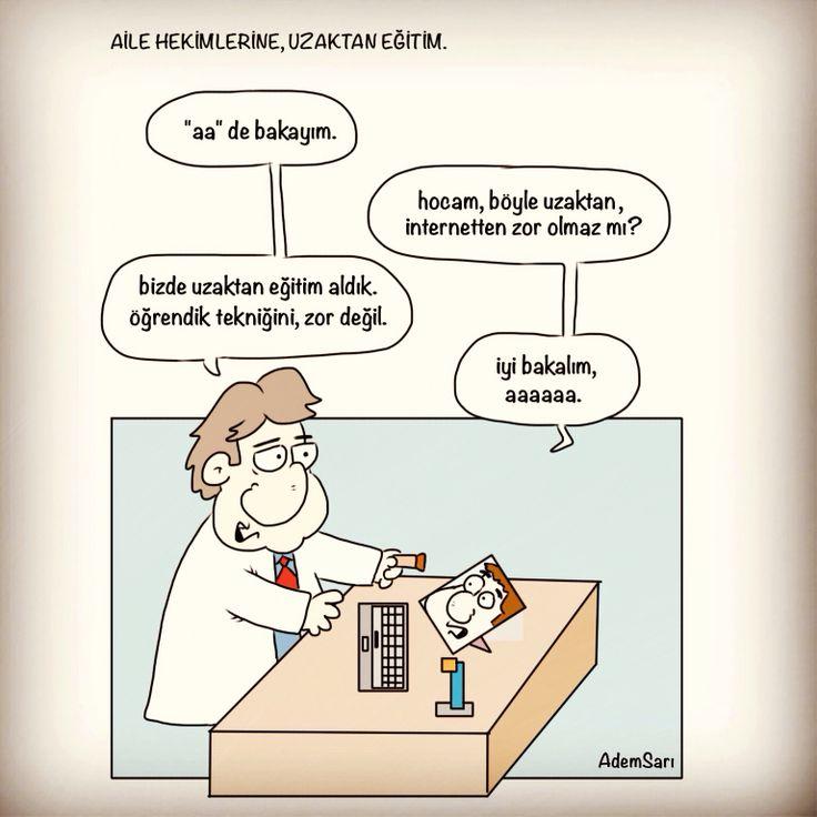 Tıbbi karikatür, aile hekimi. Tıp fakültesi. Sağlık & teknoloji :)