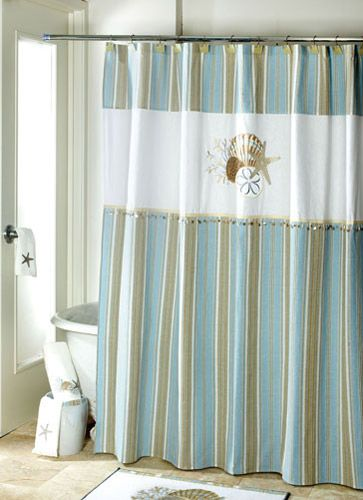 Featuring A Seashell Design With Ornament Detailing By The Sea Polyester Shower Curtain By Avanti Is A Luxurious Addition To Your Seaside D Cor