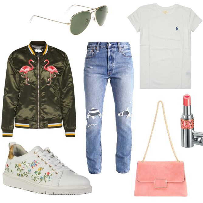 OneOutfitPerDay 2017-04-05 - #ootd #outfit #fashion #oneoutfitperday #fashionblogger #fashionbloggerde #frauenoutfit #herbstoutfit - Frauen Outfit Frühlings Outfit Outfit des Tages Bomberjacke coral Dune London Flamingo IQ  Berlin Jeans Jeans Skinny Fit Levi's Ralph Lauren Ray Ban rose Shirt Skinny Skinny Fit Sneaker Sonnenbrille T-Shirt Tamaris Umhängetasche weiss Yves Saint Laurent