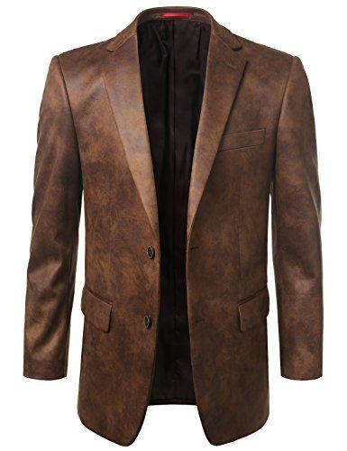 MONDAYSUIT Mens Leather Look Sport Coat Blazer Jacket (Bi...