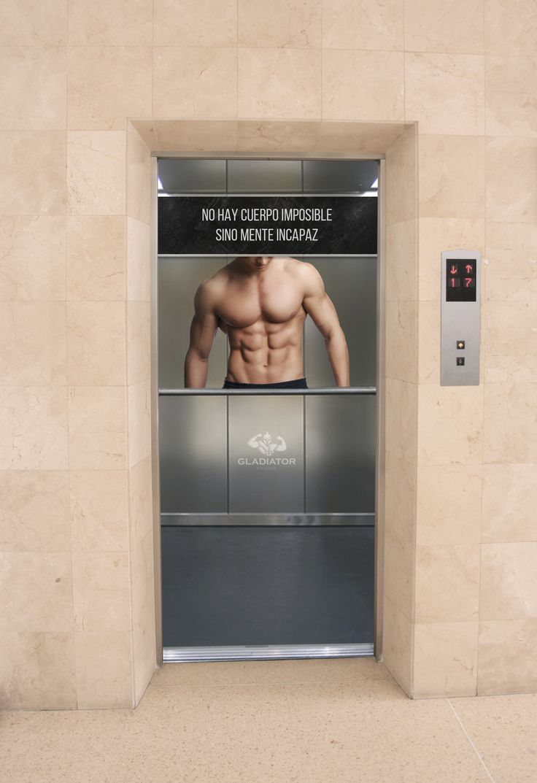 BTL en ascensor gimnasio Gladiator fitness