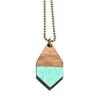 DIAMANTE small necklace in hammered emerald