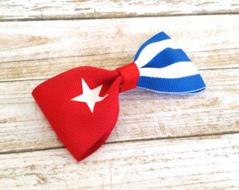 Cuban Jewelry - Hair Bow Clips For Women - Flag Bows - Girls Hair Bows For Sale - Cuba - Hair Bow Clips - Handmade Hair Accessories