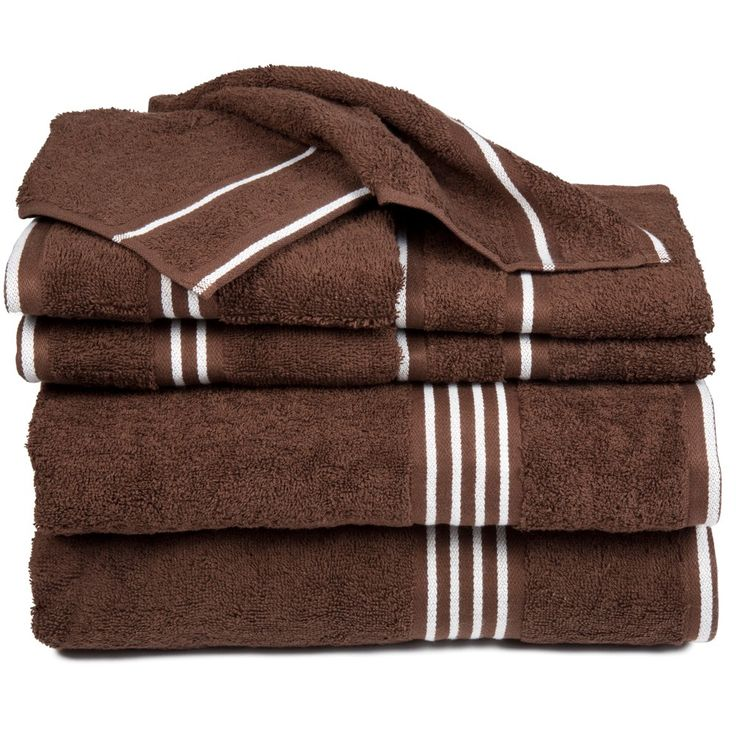 Stripe Bath Towels And Washcloths 8pc Chocolate (Brown) - Yorkshire Home