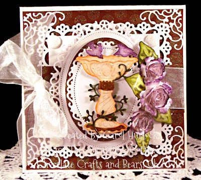 Chocolate Crafts and Bears, Oh My!  CottageCutz Victorian Bird Bath from the Victorian Garden Collection.