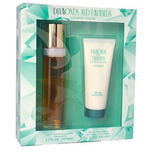 DIAMONDS AND EMERALDS Fragrance Gift Set BY Elizabeth Taylor (3.3 oz Eau de Toilette Spray + 3.3 oz Perfumed Body Lotion) by Elizabeth Taylor. $17.75. 3.3 oz PERFUMED BODY LOTION. 3.3 oz EAU DE TOILETTE SPRAY. MADE IN USA. EDT SPRAY 3.3 OZ & BODY LOTION 3.3 OZ Design House: Elizabeth Taylor Year Introduced: 1993 Fragrance Notes: Green Floral Top Notes With White Rose Water Lily And Gardenia With Lower Notes Of Carnation And Jasmine. Recommended Use: Casual