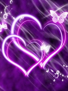 Purple Glow Hearts
