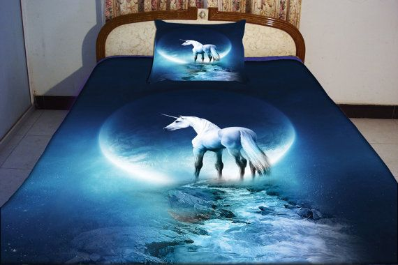 Blue unicorn duvet cover unicorn bedding set both sides print quilt cover unicorn bed sheet and two mathcing unicorn cushioncases