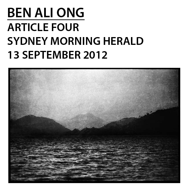 """The case of Ben Ali Ong; """"Dumped artist finds alternative showcase"""" Adam Fulton, Arts Writer, SMH; (click photo for direct link to article); image: Ben Ali Ong 1000 Years Beside Myself no.2, 2012"""