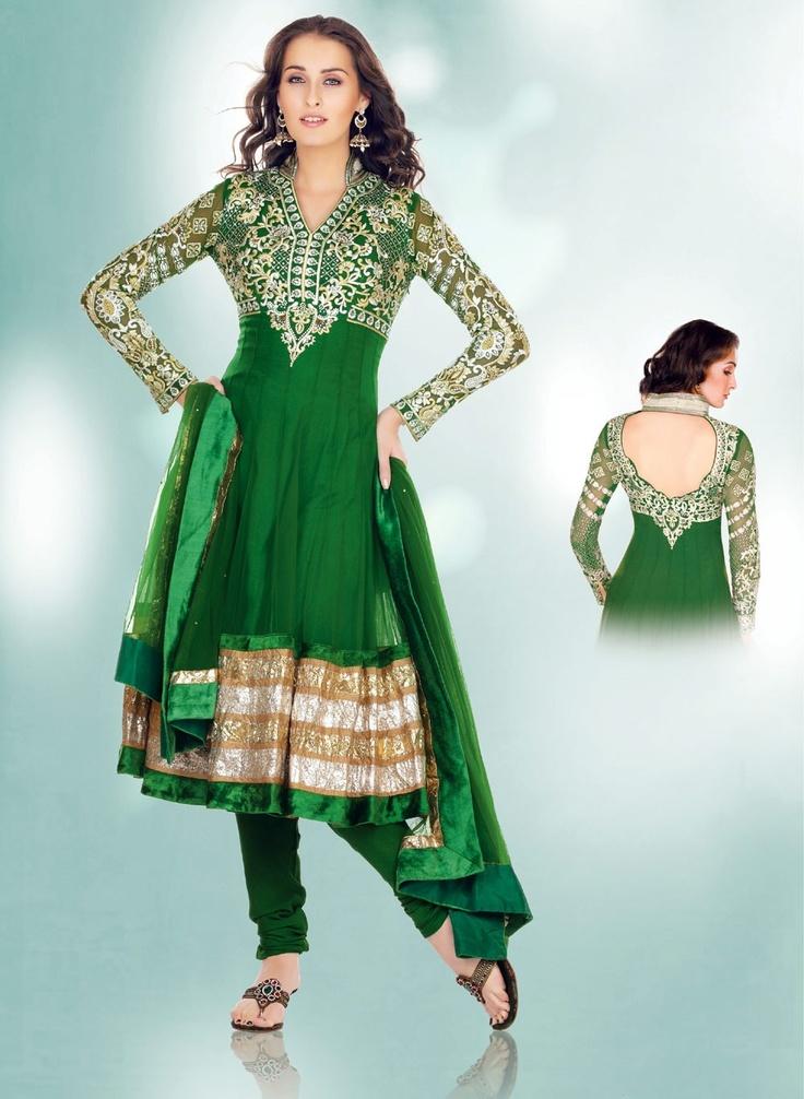 Tantalizing Bottle Green Salwar Kameez  ❀ http://www.gravity-fashion.com/9478-tantalizing-bottle-green-salwar-kameez.html ❀    £109.86
