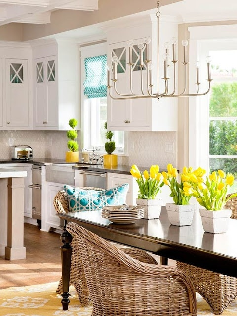 fresh white kitchen with teal and yellow accents