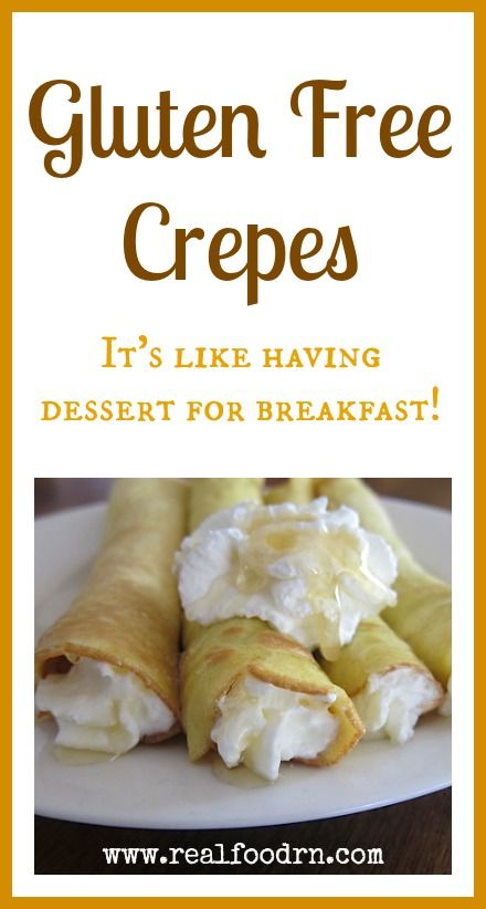 Gluten Free Crepes. It's like having dessert for breakfast! Only a few ingredients and very quick and easy to make. The best part is that everyone can fill them with whatever they want. This solves the picky eater problem!  realfoodrn.com