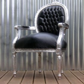 Silver Antiqued Louis Throne Chair from Bubbledrum