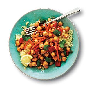 Cumin-Spiced Chickpeas and Carrots on Couscous    This one is delicious!  Consider replacing the couscous with quinoa to pump up the protein.