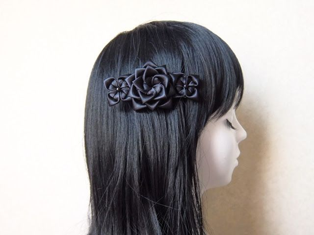 Black hair ornament.