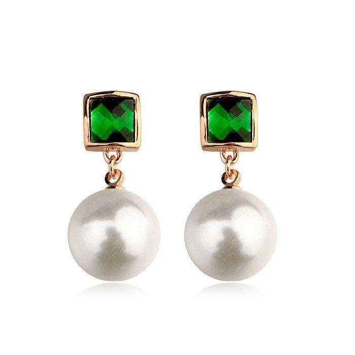 Высокое качество ювелирных изделий из китая изумрудно-зеленый камень earrng с белым жемчугом в качестве зеленый нефрит серьги
