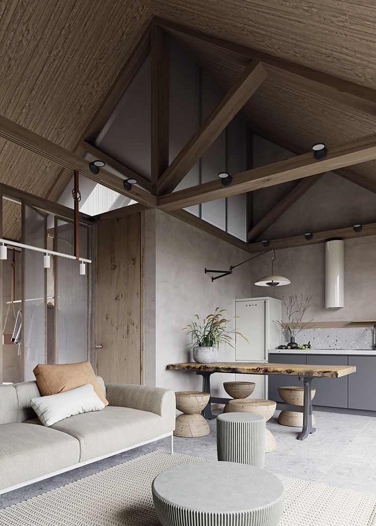 Contemporary Small House With Natural Color Palette And Textures