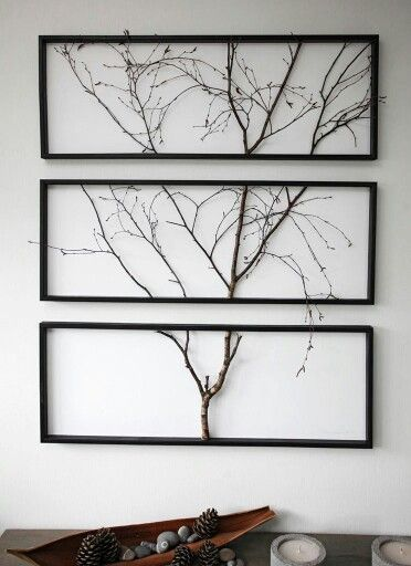 rustic 3-piece wall art using tree branches in a black horizontal frame #wallart #rusticdecor