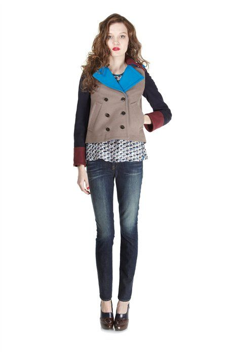 Nicoletta Colorblocked Double Breasted Jacket Marc Jacobs