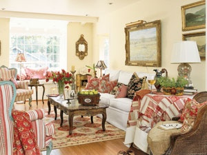 French Country Living Room A Montecito Cottage That Includes Not Only Reds But Also Turquoise Blue And Mustard Yellow Bergres