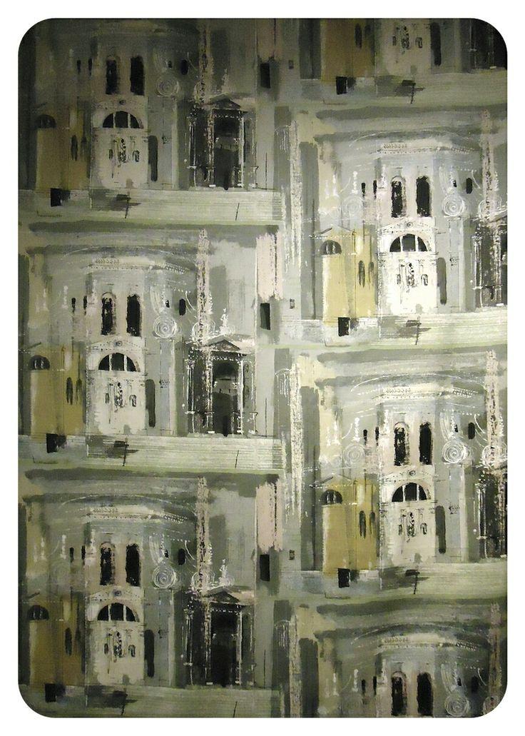 Chiesa De La Salute - screen printed fabric panel by John Piper, 1960