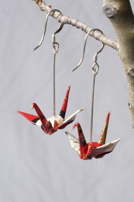 Aros de grulla / Cranes earrings