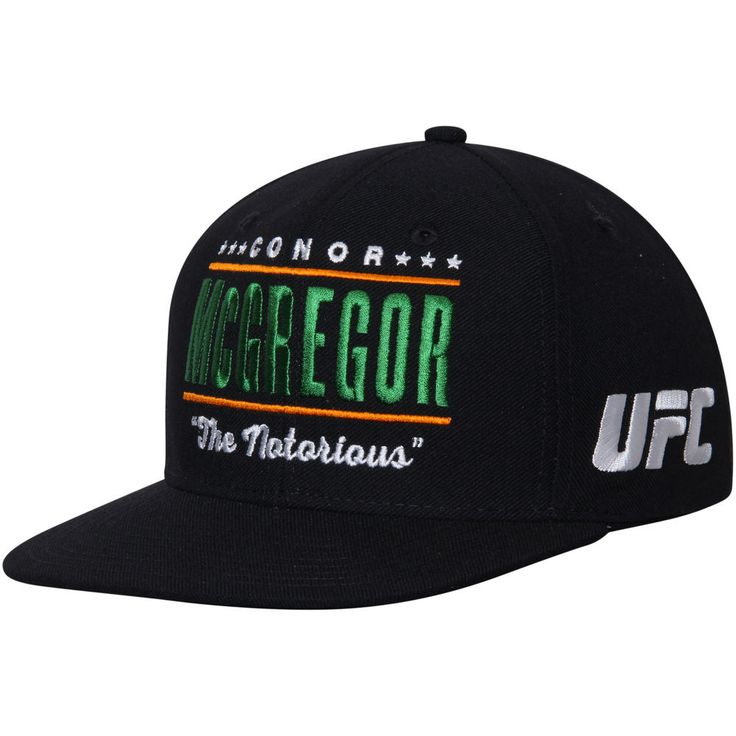 Men's Reebok Conor McGregor Black UFC 202 Flat Brim Snapback Adjustable Hat