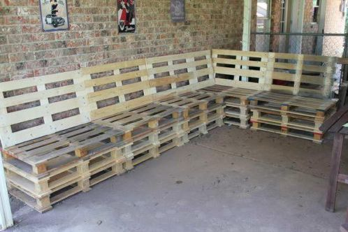 pallet seating before being sprayed and cushions made