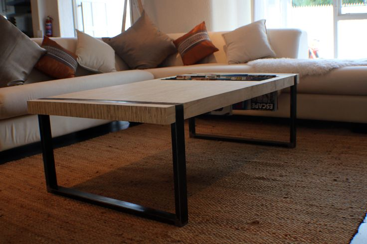 Plywood coffee table with magazine storage