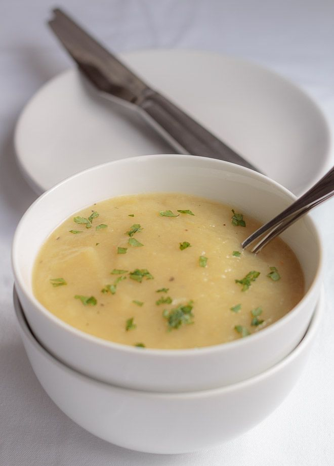 A simple healthier Scottish leek and potato soup. Still as deliciously creamy and smooth tasting but now NOT swimming in butter or cream.