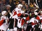 Clarke MacArthur scores Senators' series-winning goal after miraculous return to ice  -  April 24, 2017:        BOSTON, MA - APRIL 23: Members of the Ottawa Senators swarm Clarke MacArthur #16 after he scored the game winning overtime goal to defeat the Boston Bruins 3-2 during Game Six of the Eastern Conference First Round during the 2017 NHL Stanley Cup Playoffs at TD Garden on April 23, 2017 in Boston.