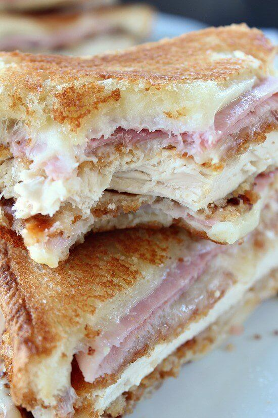 This Chicken Cordon Bleu Grilled Cheese Sandwich is the ultimate comfort food with it's cheesy deliciousness that everyone will go crazy for!