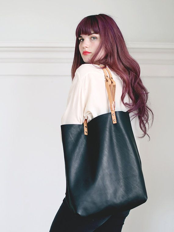 YELAPA LEATHER TOTE Black by scoutandcatalogue on Etsy