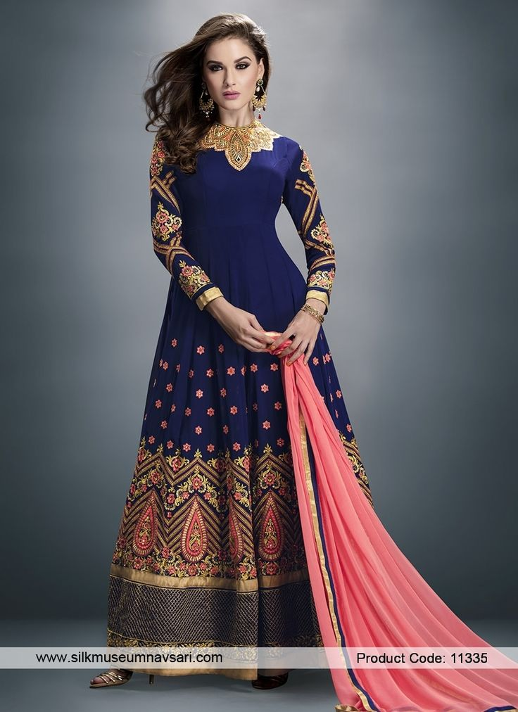 Dark Blue Faux Chiffon Anarkali Suit