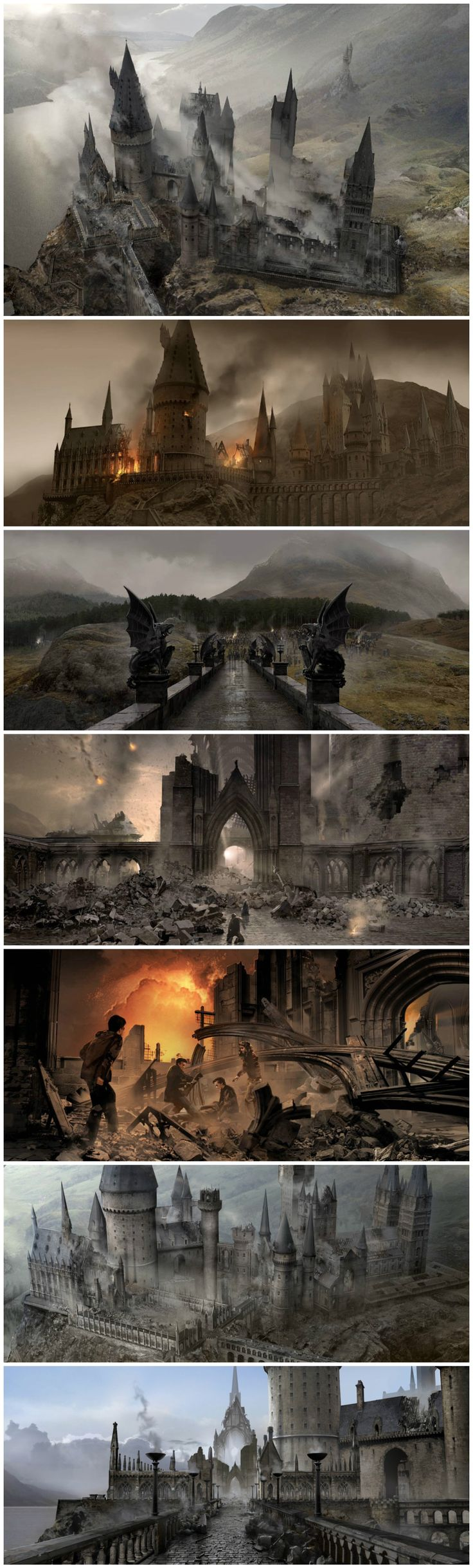 Battle of Hogwarts  concept art by Andrew Williamson.