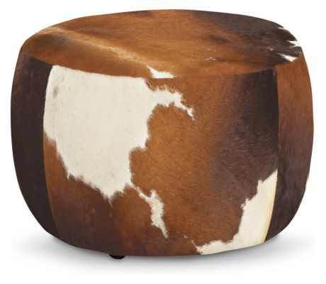 Room & Board | Lind 20 diam 16h Round Cocktail Ottoman in Cowhide Brown in Natural Hide