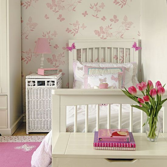 pretty childrens bedroom with butterfly wallpaper childrens wallpaper photo gallery style at home - Girls Bedroom Wallpaper Ideas