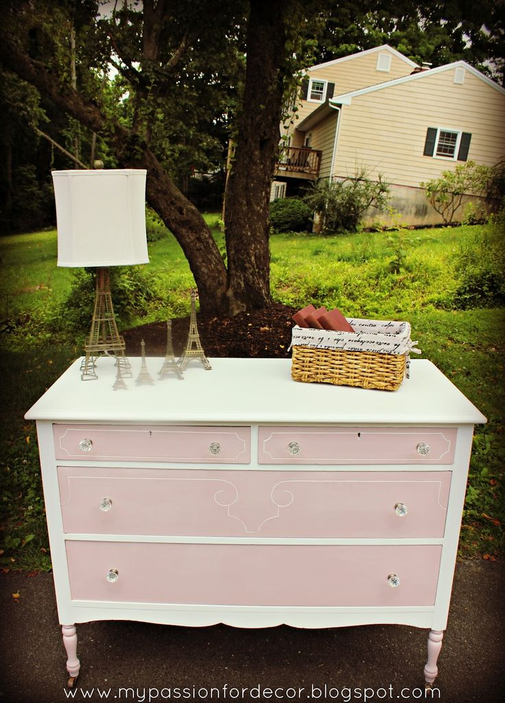 My Passion For Decor: Pretty In Pink....Elle's Dresser  ASAP Pure White and Antoinette on the drawers.